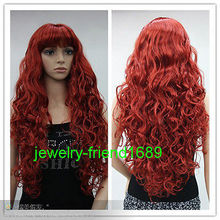 Wholesale& heat resistant LY free shipping>>>New wig Cosplay Long Curly Red Heat Resistant Women's Full Wig