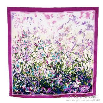100% Satin Scarf Silk Purple Flowers Luxury Scarf Laurent Monteil's Irises Big Square Scarf Hijab 2014 Spring Scarves for Women