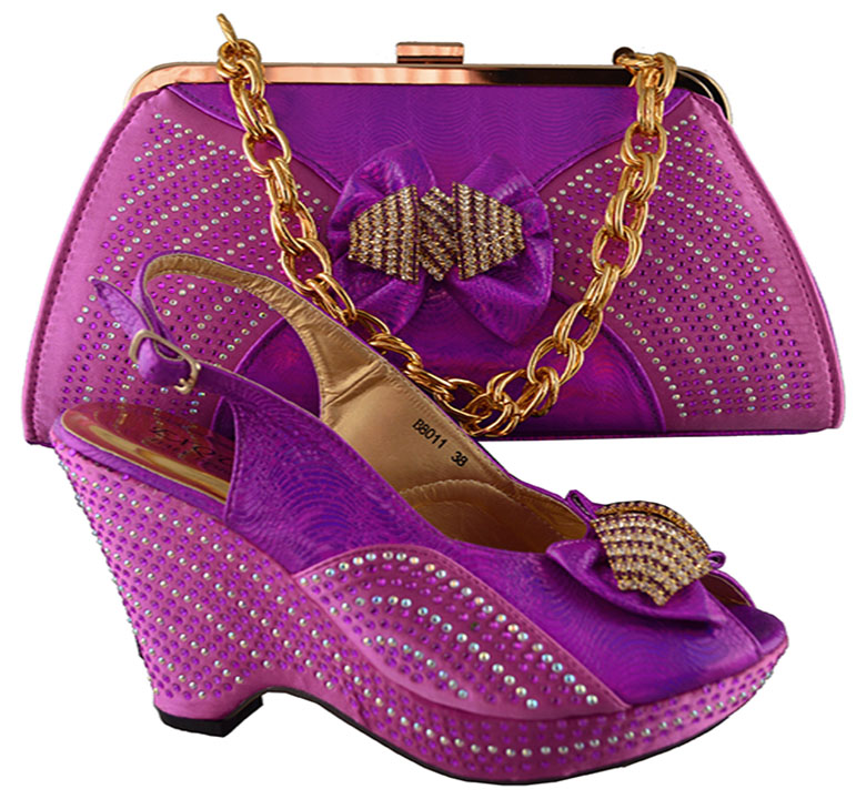 So nice matching shoes and bag set fuchsia high heel 4 inch for retail / wholesale free shipping B8011 size 38-42(China (Mainland))
