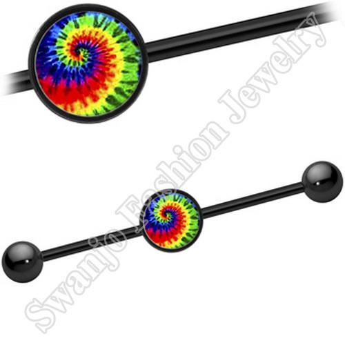 Tie Die Swirl Industrial Barbell piercing earrings steel body jewelry <br><br>Aliexpress