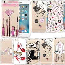 Fashion Makeup Tools Lipstick Printing Anti-knock Phone Case Cover For iPhone 5 5s SE 6 6s plus Soft Transparent Silicon Capa(China (Mainland))