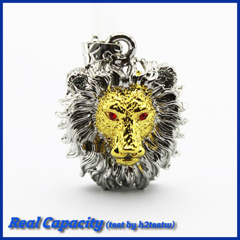 free shipping cool usb stick lion thumb drive metal usb falsh drive monster jewelry necklace pendrive 8gb 16gb 32gb gift for boy