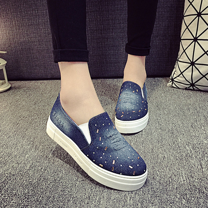 New Women Flats 2016 Casual Slip-On Round Toe Jean Denim Vintage Shoes Round Toe female shoes fashion flats(China (Mainland))