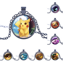 New arrival  Pokemon Inspired necklace Glass pendant dome Cabochon Pendant Jewelry silver plated pendants pokemon charm jewelry