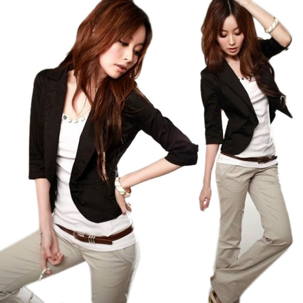 Hot Sale Funky 3/4 Sleeve Blazer One Button Suit Jacket Coat  Short Outwear for Office LadyОдежда и ак�е��уары<br><br><br>Aliexpress
