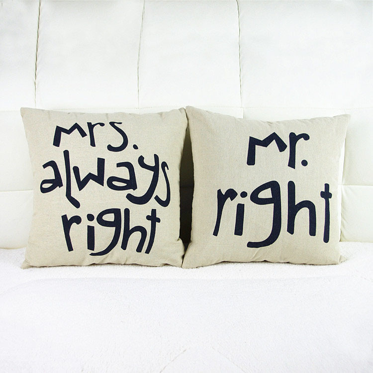 Buy 2pcs decorative pillows mr mrs right for Home decor 2 love