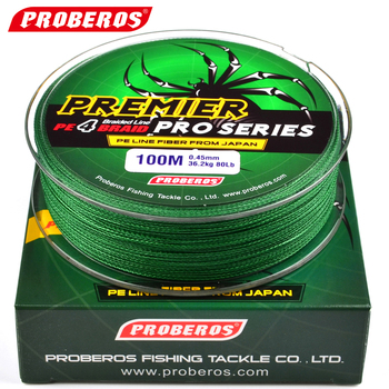 100M Fishing PELine Proberos Brand Red/Green/Grey/Yellow/Blue braided fishing line available 8LB-100LB PE Line Green Package