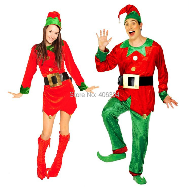 ,red green adult Christmas party clown costume , women dress hat boots - HH Party Costume Store store