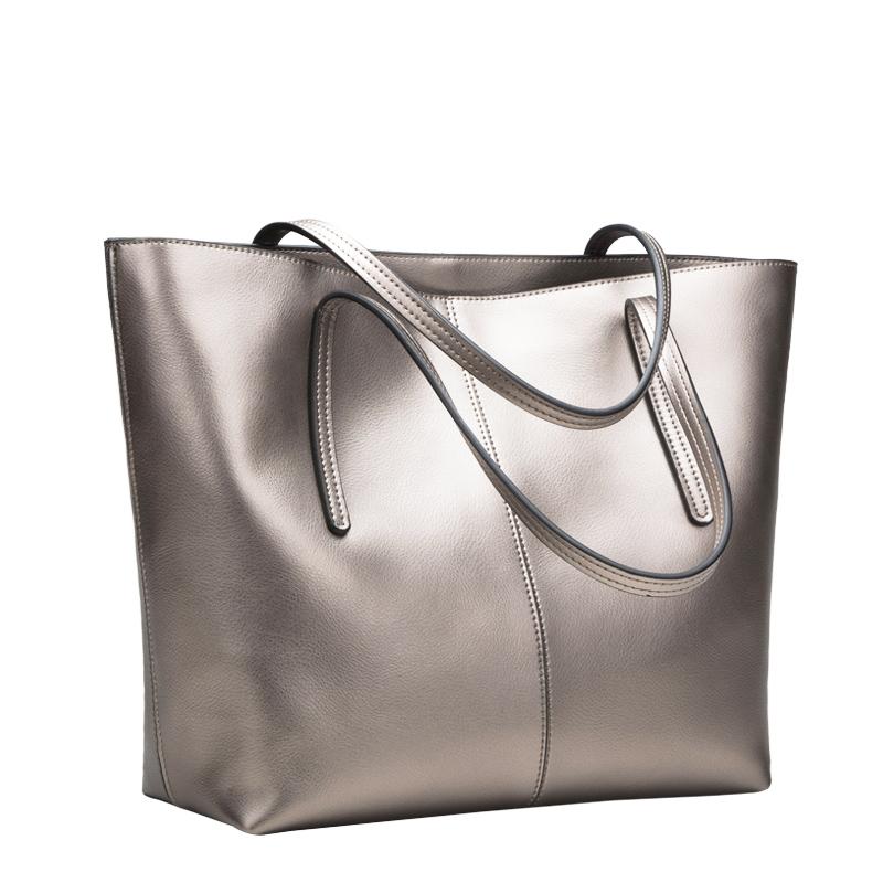 Pearlizing women's cowhide handbag big bag fashion shoulder bag all-match formal shopping bag large capacity bags