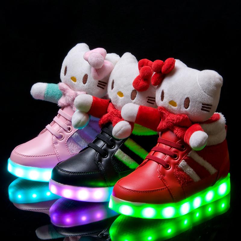 new bonjour kitty enfants chaussures led pour filles chaussures belle usb de charge lumineux. Black Bedroom Furniture Sets. Home Design Ideas