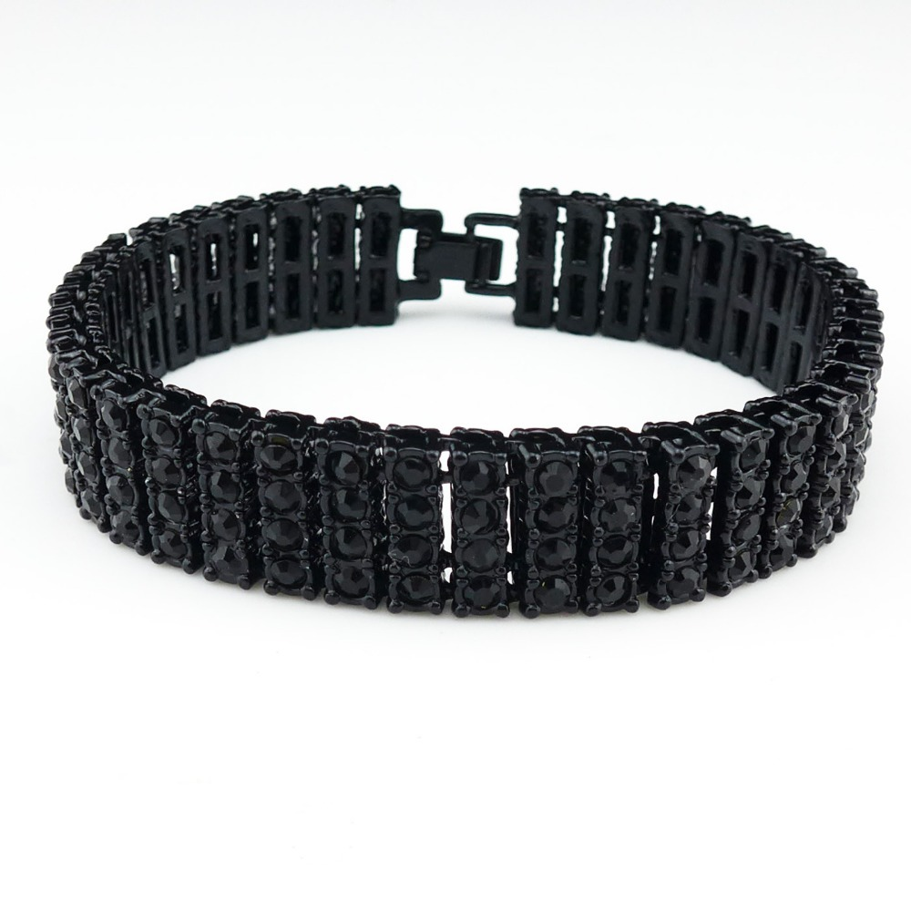 Men Simulated 4 Row Black Diamond Iced Out Tennis Bracelet Hiphop 85  Inches