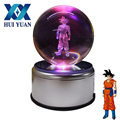 HUI YUAN Goku 3D Crystal Ball Dragon Ball 7 Colors 3D Rotation LED Night Light Desk