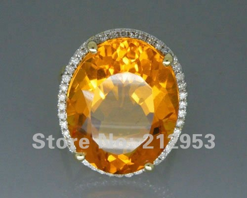 Jewelry Sets Vintage Oval 16x21mm Solid 14kt Yellow Gold 19.84Ct Diamond Yellow Citrine Wedding Ring<br><br>Aliexpress