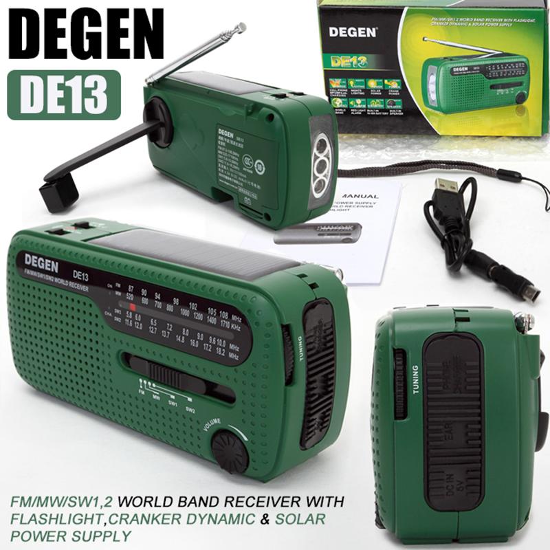 DEGEN DE13 FM AM SW Crank Dynamo Solar Power Emergency Radio Global receiver(China (Mainland))