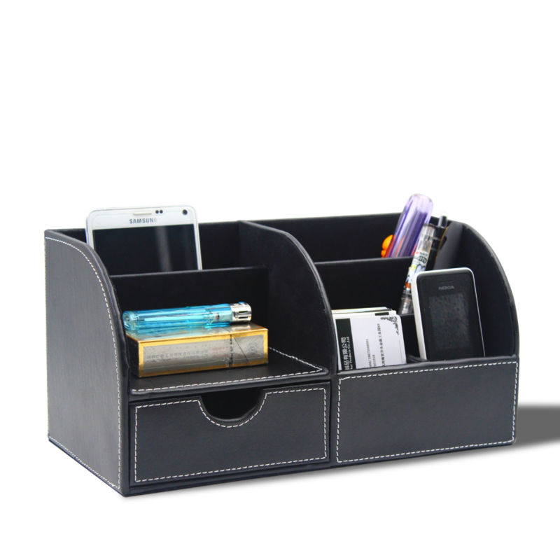 Wood and Leather Structure Office Desk Stationery Organizer Pen Pencil Holder Box Storage Case Container Multi Function(China (Mainland))