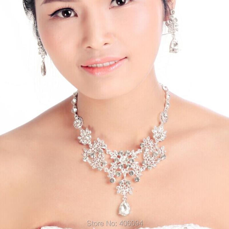 Свадебные Ювелирные Изделия Ожерелье Серьги Свадебные Ювелирные Наборы Лучшие Качества Свадебные Позолоченный Rhinestone Платье Аксессуары