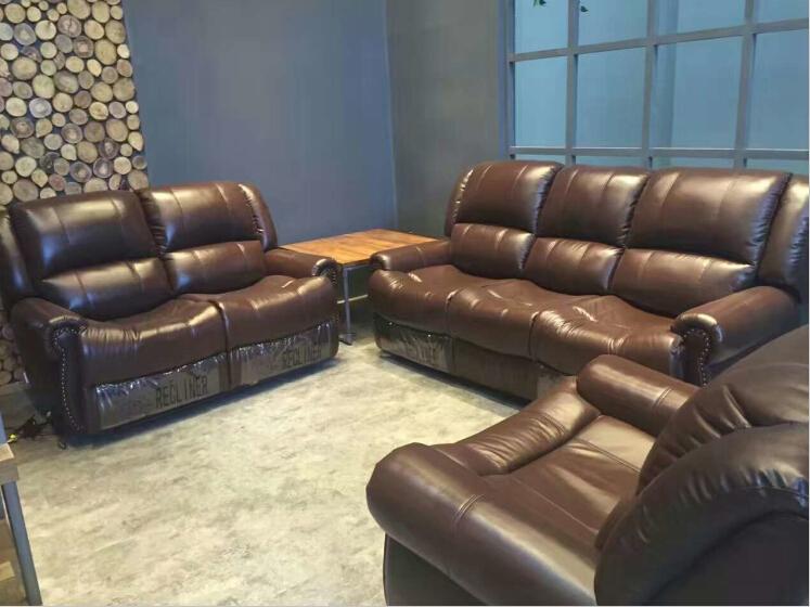 Living room sofa modern sofa set recliner sofa with Top grain ...