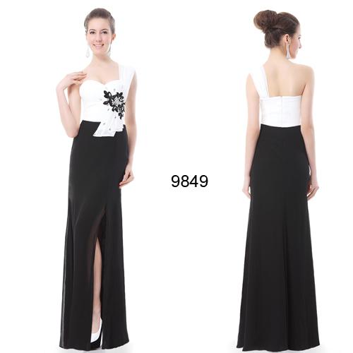 Long Black and White Rhinestone Flower Chiffon Maxi Evening Dress Formal Elegant Party One Shoulder HE09849WH 2015(China (Mainland))