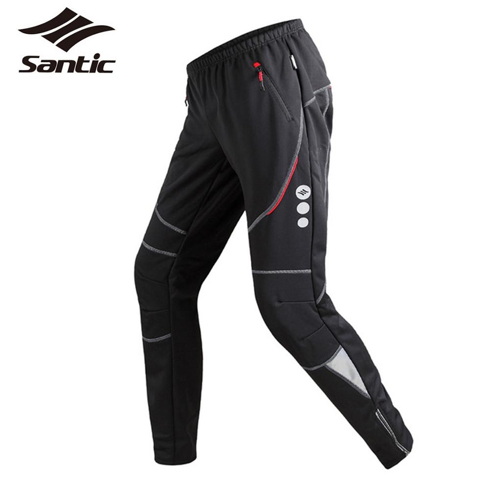 Santic Winter Cycling Pants Men's Thermal Fleece Wind Pants Windproof Outdoor Sports Reflective Bike Pants Leisure Running Pants(China (Mainland))
