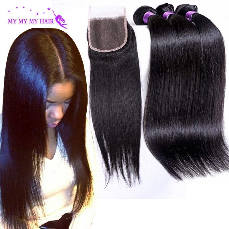 Indian Virgin Hair With Closure Rosa Hair Products Virgin Indian Straight Hair With Closure 3 Hair Bundles With Lace Closures<br><br>Aliexpress