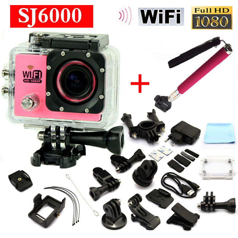 Add Monopod action camera SJ6000 WiFi Diving 30M 12MP Full HD1080P 170 Degree Lens 2.0LCD Sport DV Camera free shiping<br><br>Aliexpress