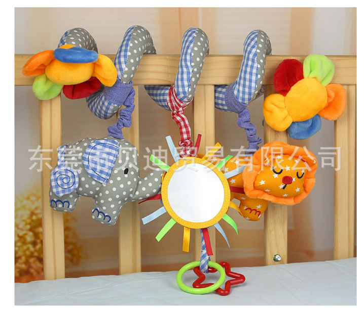 Super cute 1pc Sozzy cartoon elephant little lion cloth rattle bed around sunflower safety mirror infant baby newborn toy gift(China (Mainland))
