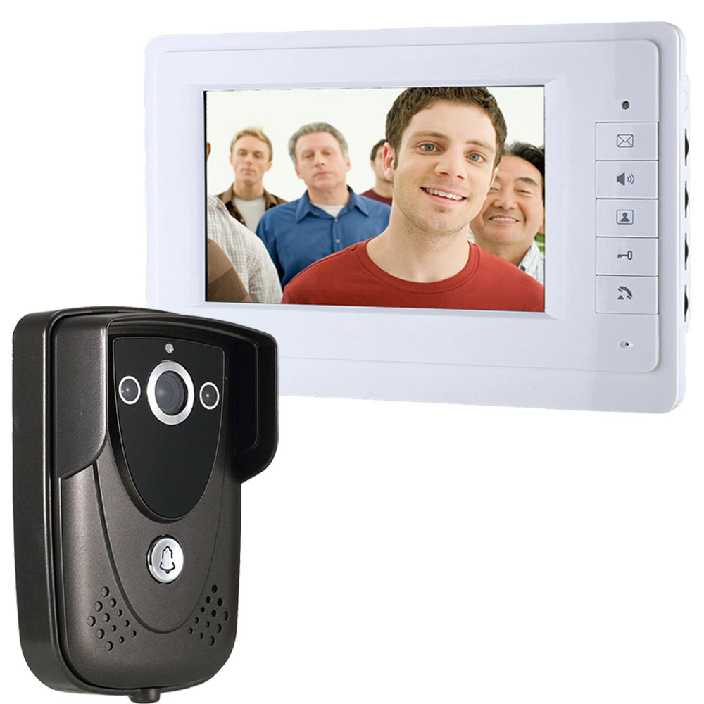 """Free Shipping Wired Color 7"""" TFT LCD Display Video Door Phone Doorbell Intercom System With IR Night Vision Camera Black Color(China (Mainland))"""