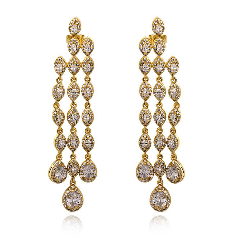Luxury royal jewelry for 2015 AAA grade zirconia crystal perfectly made tassel earrings()