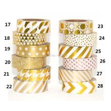 High qulity Gold foil 10m paper tape dot,strip,pineapple,heart charistmas decorative washi tape 1pcs