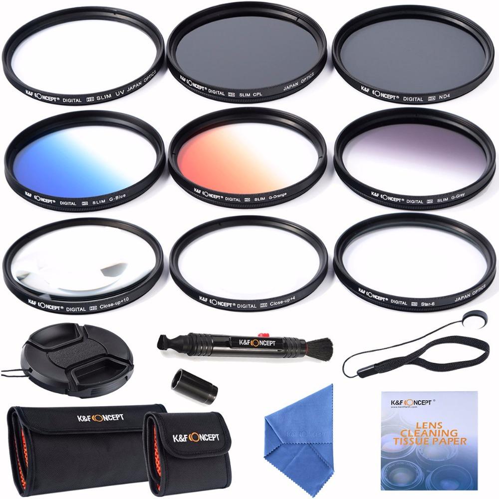 52mm slim UV CPL ND4+ Slim Blue Orange Grey Graduated colour +Macro Close Up +4 +10 +6 Point Star Lens Filter for camera lens(China (Mainland))