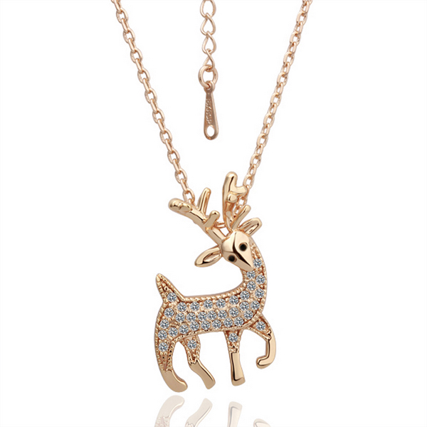 Vintage Jewelry Women Accessories Newest Design Deer Pendant Necklace Fashion Crystal Rose Gold Plated Jewlery 18KGP
