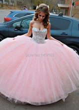 New Fashion 2015 Sweetheart Pink Tulle Ball Gown Long Prom Dresses Beads Rhinestones Lace up Tiered Tulle Prom Gown P51104(China (Mainland))
