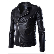 New Leather Jacket 2015 Spring Fashion Mens Diagonal Zipper Slim Black Pu Leather Jackets Men Brand Biker Jacket Jaqueta Couro(China (Mainland))