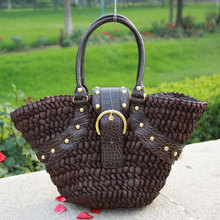 Spring summer vintage woven bag women's rattan hand bag casual beach bag with studs B797