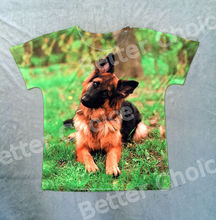 Track Ship+Vintage Retro T-shirt Top Tee Cute Real German Shepherd Dog Sit on Green Grasses 0930(Hong Kong)