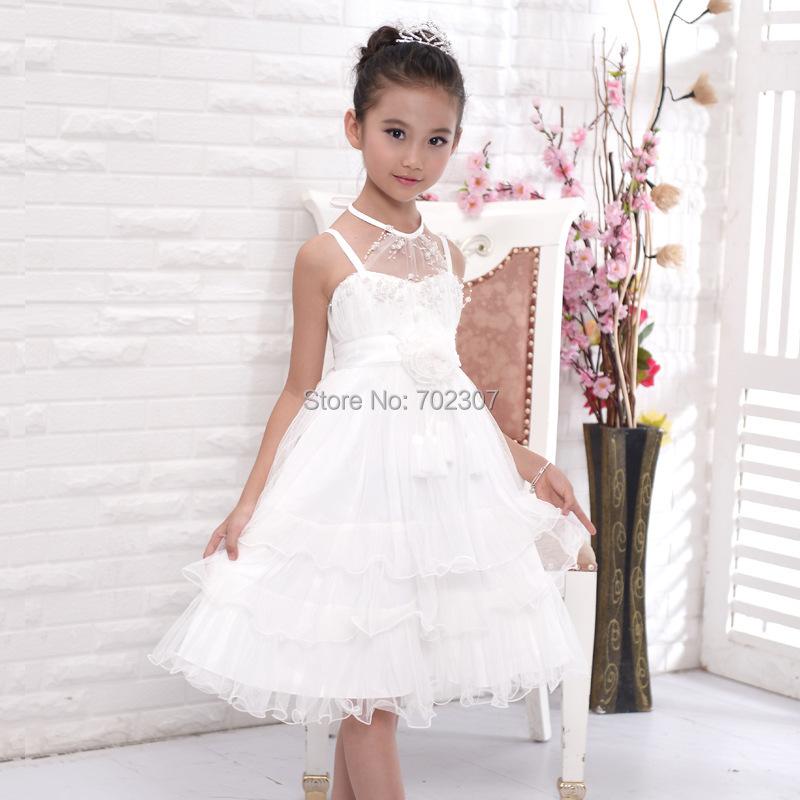 Wholesale girl party dress Hang a neck Kids Princess Dresses Spaghetti straps girls Wedding Dresses 14pcs/lot free DHL P-51<br><br>Aliexpress
