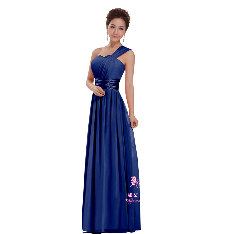 2016 Cheap Long Bridesmaid Dresses Design One Shoulder Formal Plus Size Party Vestidos De Festa Navy Blue 2015 ABC66 - Wintty Wedding Dress store