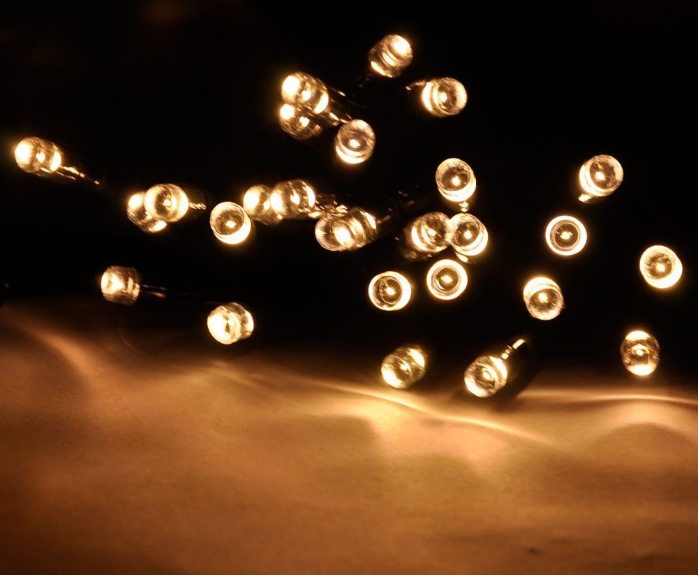 String Lights Solar : High quality 60led solar string light warm white color Solar Christmas String 55ft 17m 100 LED ...