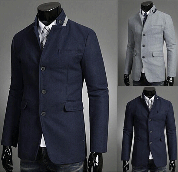 Blazer men, 2015 New Fashion Brand Mens Blazers Coats, Stand collar and Solid Color suits for men, Men's qualities/Fit coat 3871(China (Mainland))