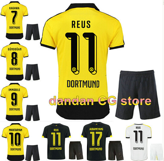 15 16 Borussia Dortmund kits home yellow soccer football jersey kits. best quality BVB soccer uniforms Jerseys embroidery logo(China (Mainland))