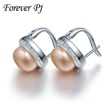 925 sterling silver butterfly buckle stud earrings, 9-9.5mm freshwater 3 color high luster pearl earring for women fine jewelry(China (Mainland))