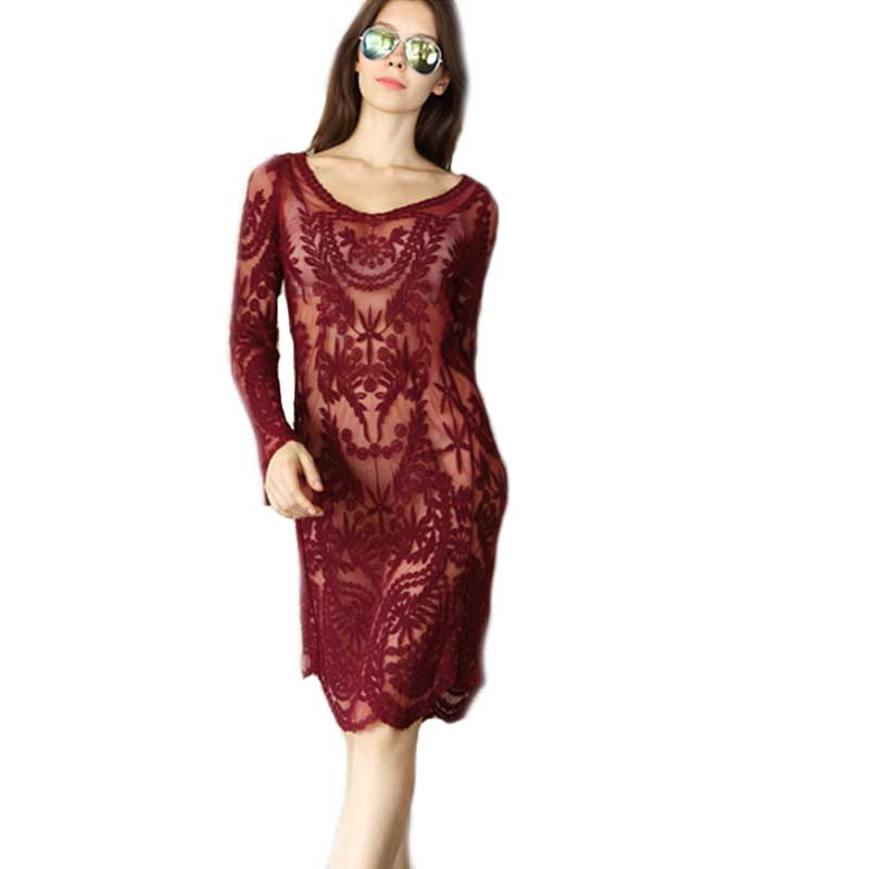 Women's Clothing Lady Semi Sexy Sheer Sleeve Loose Blouse Tops Embroidery Floral Lace Crochet Dress(China (Mainland))