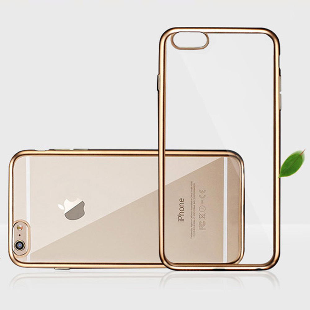Rose Gold Ultra Thin Plating Bumper Crystal Clear Soft TPU Silicon Cell Phone Case For Apple iPhone 5 5S SE(China (Mainland))
