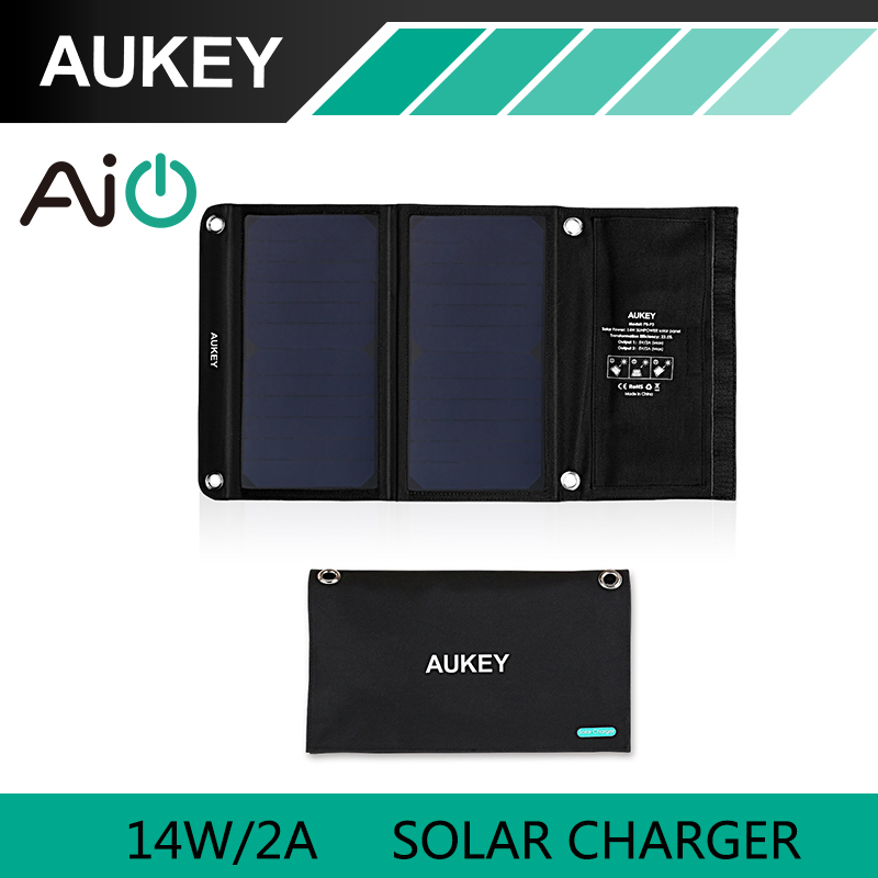 AUKEY 14W Solar Charger with Dual USB Port Foldable Portable AiPower Adaptive Charging Technology for Apple iPhone 7 Android(China (Mainland))
