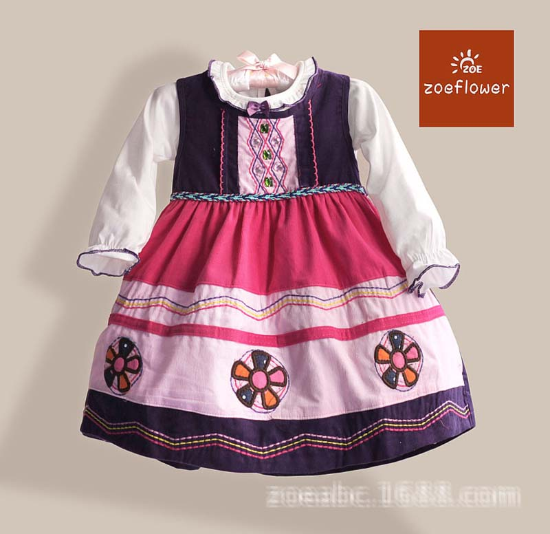 Baby Girls Shirt & Corduroy Dress Girls' Autumn Flower Dresses New 2015 Wholesale Kids Nation Clothes Set 1-4T 5pcs/lot(China (Mainland))