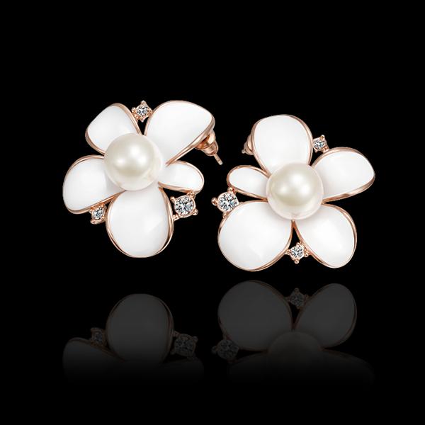 2014 Promotion Hot Selling 18K gold plated Temperament Luxury Fashion Flowers Pearl Stud Earrings, E585 - IVAN JEWELRY CO.,LTD. store