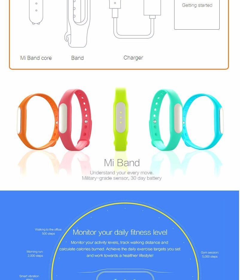image for Cheapest 100% Original Xiaomi Mi Band Smart Miband Bracelet For Androi