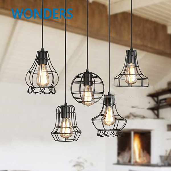 New Vintage retro pendant lamp balck metal cage lampshade with E27 bulb lighting hanging light fixture<br><br>Aliexpress