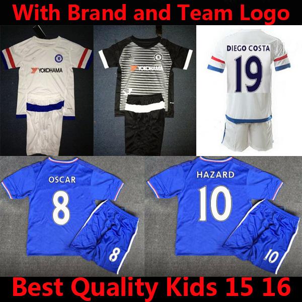 Top Quality EDEN HAZARD Chelsea Jersey Kid JOHN TERRY DROGBA Chelsea Kids Kits 2015 OSCAR Soccer Jerseys Chelsea Kid Kits 15 16(China (Mainland))