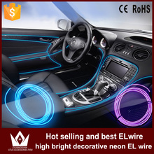 Guang Dian 1M 2M metre flat EL Wire Rope Cable Powered Flexible Light Decor Controller cigarette inverter car indoor - Zhou Guangdian Auto Accessories Firm store